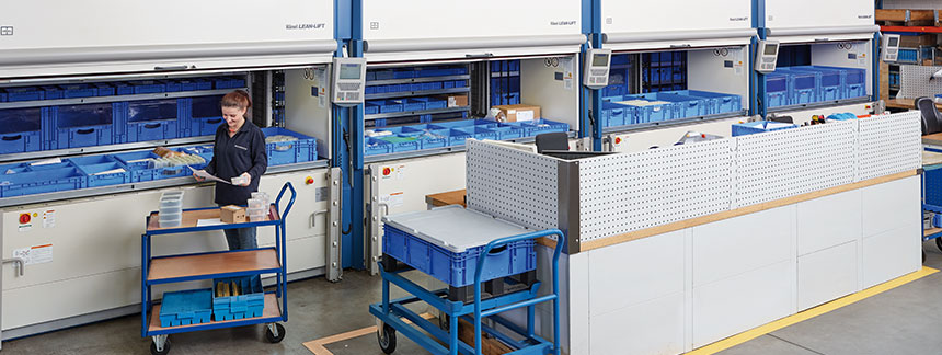 A wide range of small parts are stored in four space-saving Hänel Lean-Lifts® before they are picked for shipment